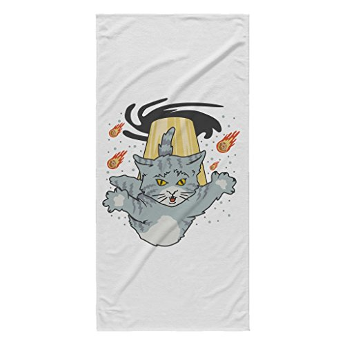 Alien Cat Black Hole Invasion   Funny White 30  X 62  Beach Towel