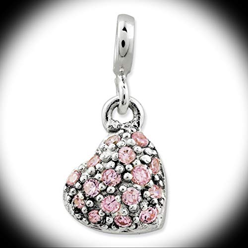 925 Sterling Silver Polished Pink CZ Puffed Heart Enhancer Charm 19mm x 9mm Vintage Crafting Pendant Jewelry Making Supplies - DIY for Necklace Bracelet Accessories by CharmingSS
