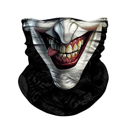 JOEYOUNG Skull Face Mask - UV Sun Dust Protection Neck Gaiter, Half Motorcycle Face Mask Skull Bandana Mask, Seamless Headwear Tube Mask for Fishing Hunting Cycling (Black&joker-177) (Bandana Joker)