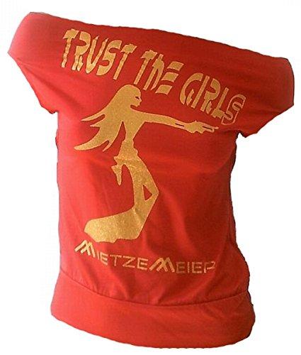 Ticila Damen Designer U-Boot Top Shirt Trust The Girls Gold Glitzer Gun Woman Rockabilly Punk Babe Rot