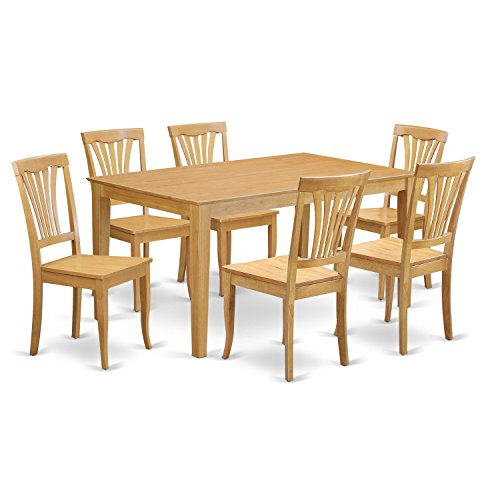East West Furniture CAAV7-OAK-W 7 Piece Dining Table and 6 Chairs Set