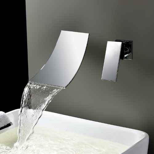 Zingcord Widespread Waterfall Bathtub Mixer Taps Bath Shower Faucets Single Handle Two Holes Wall Mount Curve Spout Bathroom Sink Faucets Vessel Sink Vanity Faucets Lavatory Plumbing Fixtures Wall Mount Tub Spout