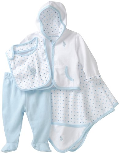 U.S. POLO ASSN. Baby-Boys Newborn Four Piece Hooded Pant Gift Set