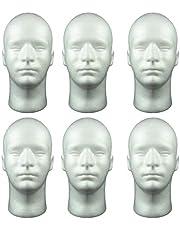 Milageto Male Styrofoam Mannequin Head Display Model Manikin Head for Wig Glasses Hat - 6 Pieces