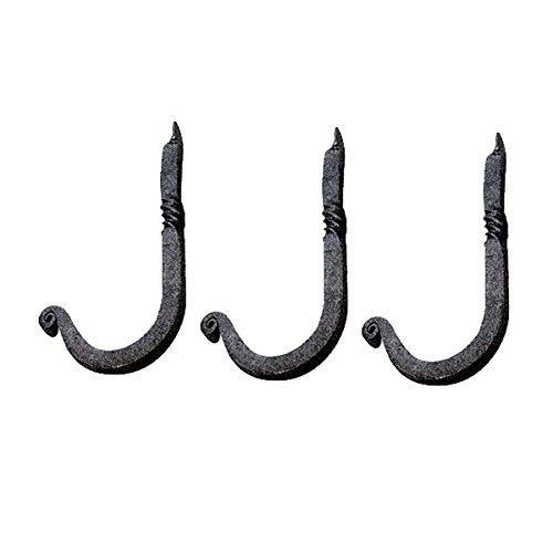 Forged Iron Single - Renovator's Supply 3 Hooks Wrought Iron Black Single 3 1/2 H X 1 1/4 Proj