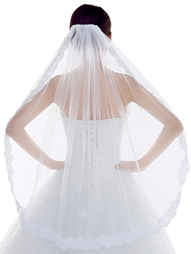 Edith qi One layer Lace Bridal Veil with Comb Wedding Veil