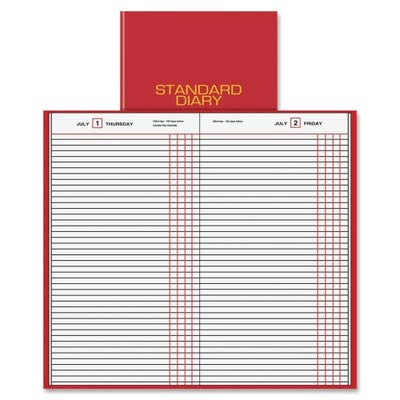 AT-A-GLANCE SD377-13 Standard diary daily journal for 2009, tel/expense, 7-11/16 x 12-1/8, red vinyl cover