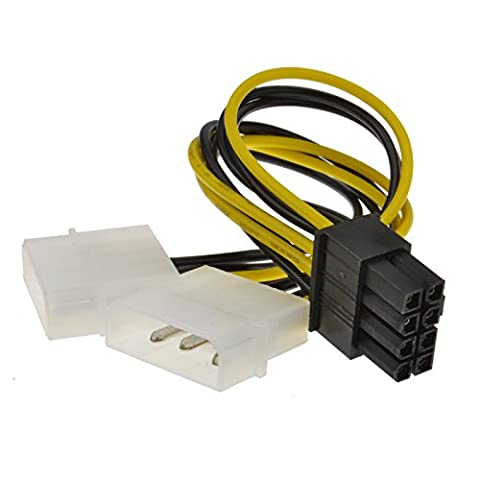 kenable 8 Pin PCI Express PCIe Power Cable from Dual 4 Pin Molex LP4 Adapter (4 Pin Peripheral Connector)