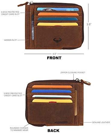 Stitch Khaki Anti Skim Protection Figuretta Genuine Leather Credit Card Holder Slim Wallet RFID Card Protector