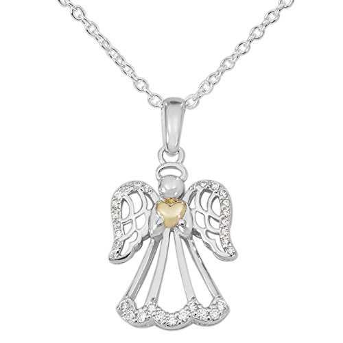 Hallmark Jewelry Two Tone Sterling Silver Cubic Zirconia Angel and Heart Pendant Necklace, 18