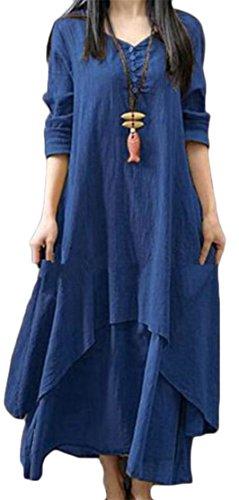 Il Oscillazione Elegante Epoca Irregolare Lino Lunga Cromoncent Pieghettato Womens Vestito Manica Blu Tnw8qFHxxC