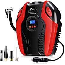 Breezz Air Compressor, 12V DC Portable Auto Tire Pump with Digital Display Pressure Gauge up to 150PSI for Car, Bicycle and Other Inflatables (Renewed)
