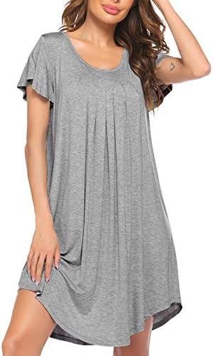 Ekouaer Nightgown Womens Sleepshirt Soft Sleepwear Pleated Nightshirt Comfy Sleep Dress Short Sleeve Flare Nightdress S-XXL