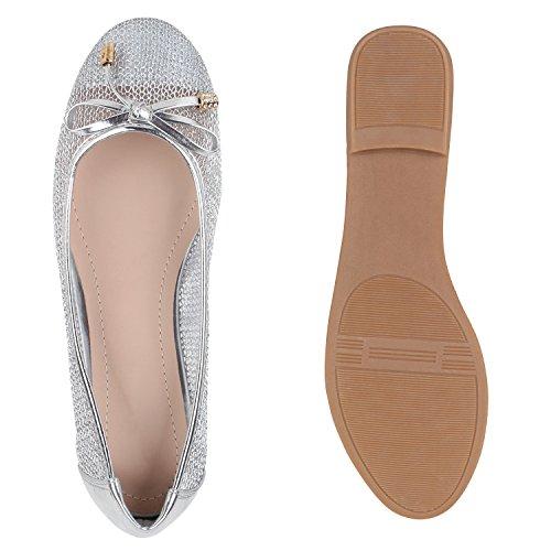 Stiefelparadies Damen Ballerinas Slipper Flache Schuhe Spitze Häkeloptik Feminine Slip-Ons Stoffschuhe Strass Metallic Flandell Silber Flechtung