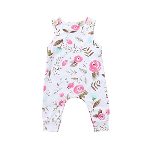 ARINLA Newborn infant baby kids child girls boys sleeveless flower romper ()