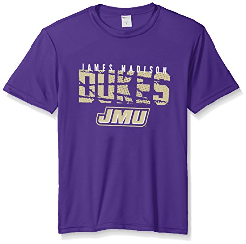 Image One NCAA James Madison Dukes Youth Boys Destroyed Short sleeve Polyester Competitor T-Shirt, Youth Medium,Purple (Youth University)