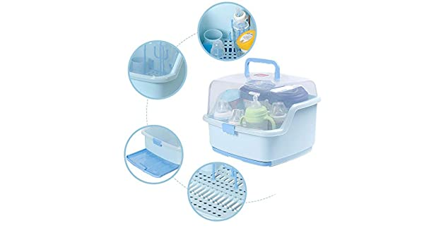 Baby Bottle Drying Rack with Cover Baby Bottle Storage Organizer Large Size 16inch x 10inch Blue BPA Free