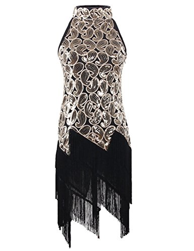 Oro 1920s Paisley PrettyGuide Paillettes Da Art Nappa Deco Glam Donne Festa Vestito Flapper 6Oqq7wA