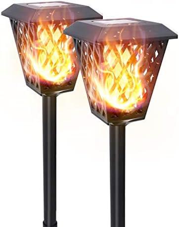 Aigostar Zonnevlam lichtenSolar Tuinverlichting72 LED dansen flikkerende vlam buiten tuin landschap decoratie licht schemering tot dageraad auto aanuit IP44 waterdichte2 Pack