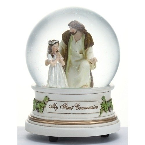 Little Girl with Jesus My First Holy Communion 100MM Glitter Water Globe Dome