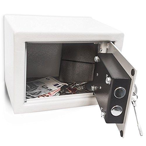 Relaxdays Mini Safe Mini Tresor Wandresor Möbeltresor mit Schlüssel 23 x 17 x 17 cm massiv Stahl grau mit Doppelbolzenverriegelung