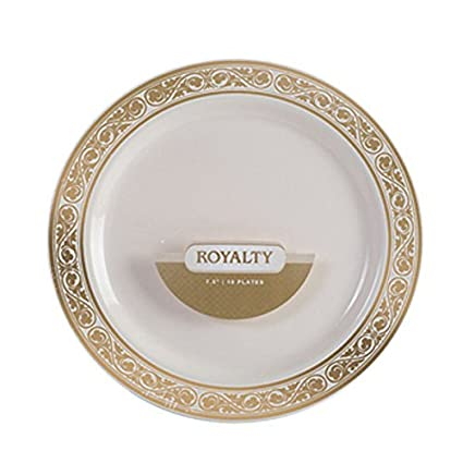 Royalty 9 Inch Plastic Ivory Plates with Gold Band/Case of 120  sc 1 st  Amazon.com & Amazon.com: Royalty 9 Inch Plastic Ivory Plates with Gold Band/Case ...