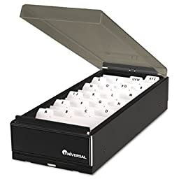 Universal : High-Capacity Business Card File, Metal/Plastic, Black/Smoke, 4 1/4x8 1/4x2 1/2 -:- Sold as 2 Packs of - 1 - / - Total of 2 Each