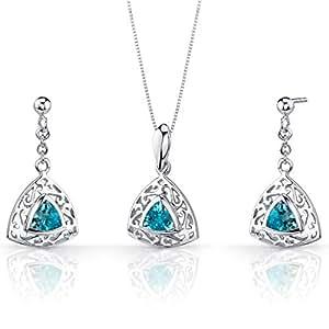 Revoni - Juego de joyas de plata de ley con topacio azul
