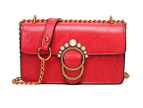 SHOUTIBAO Female Tasche, Schloss Damentasche, tragbare Messenger Schultertasche,Braun