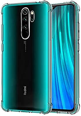 QHOHQ Funda para Xiaomi Redmi Note 8 Pro, Cases Silicona Thin Slim TPU Cuatro Esquinas Anti-caída para Xiaomi Redmi Note 8 Pro (Transparente)