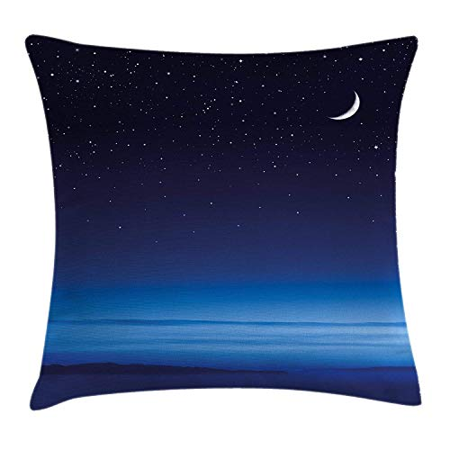 (Night Throw Pillow Cushion Cover, Moon and Stars Over Santa Barbara Channel Infinity Foggy Pacific Ocean, Decorative Square Accent Pillow Case, 18 X 18 inches, Dark Blue Sky Blue)