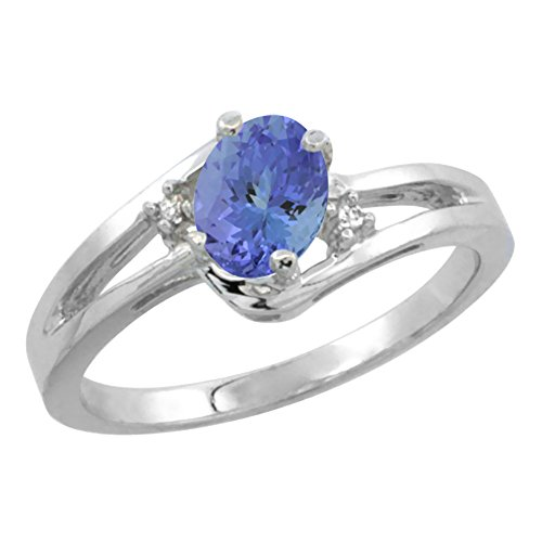 14K White Gold Diamond Natural Tanzanite Ring Oval 6x4 mm, size 10 ()
