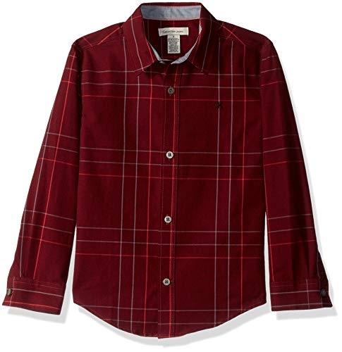 Calvin Klein Boys' Little Plaid Long Sleeve Shirt with Pocket, Twist Dark red, 4