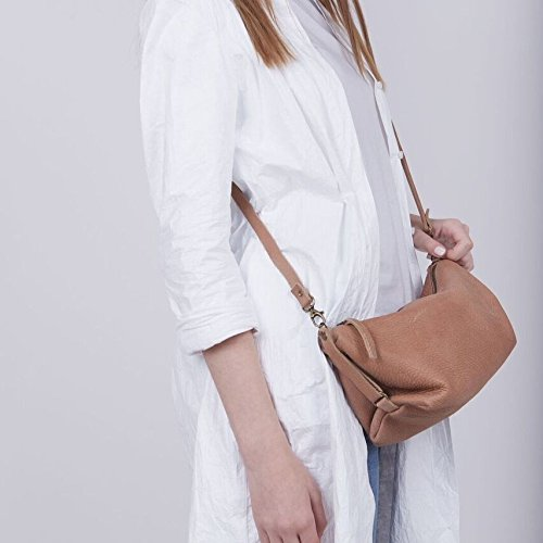 Casual Bohemian Genuine Brown Leather Crossbody Shoulder Purse by Lady Bird Bags