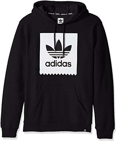 (adidas Originals Men's Outerwear Blackbird Basic Hoodie, Black/White, X-Large)