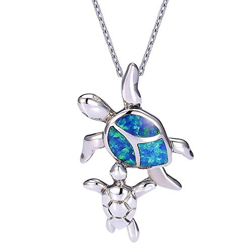 Synthetic Opal Necklace with with Mom Baby Turtle 925 Sterling Silver Jewelry for women by VIKI LYNN Synthetic Opal Necklace