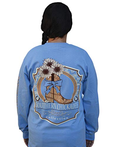 Southern Chickadee Cowgirl Boot Long Sleeve in Carolina Blue - XL
