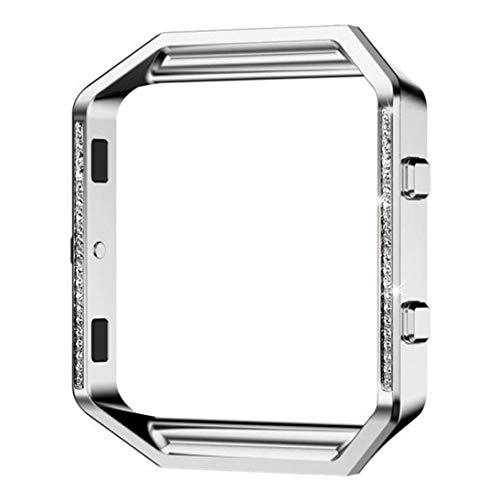 Price comparison product image for Fitbit Blaze Stylish Stainless Steel Metal Watch Frame Holder Shell, Outsta Fashion Bracelet Accessories Crystal Frame Women Men Colorful (Sliver(Inlaid Crystal))