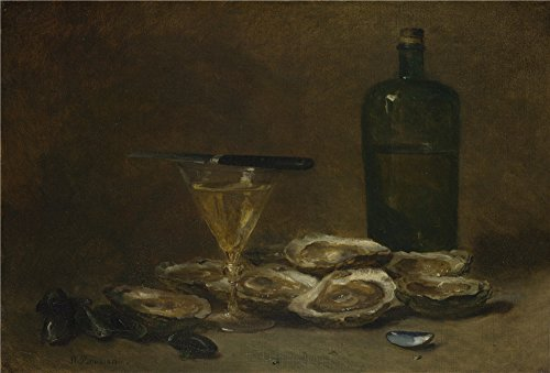 (Oil Painting 'Philippe Rousseau Still Life With Oysters ' Printing On Perfect Effect Canvas , 10 X 15 Inch / 25 X 38 Cm ,the Best Laundry Room Gallery Art And Home Artwork And Gifts Is This Reproductions Art Decorative Prints On Canvas)
