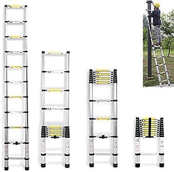 Portátil de 3,2 m multiuso plegable telescópica Escalera 11 Pasos de aluminio de bricolaje de la escala por Loft Home Office Casa - Extensión extensible - Max 150 kg dljyy: Amazon.es: Bricolaje y herramientas