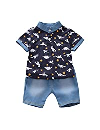 Baby Boys' Short Set Summer Outfit Cotton 2 Pieces Pant Set Short Sleeve Clothing Sets with Denim Cropped Pants