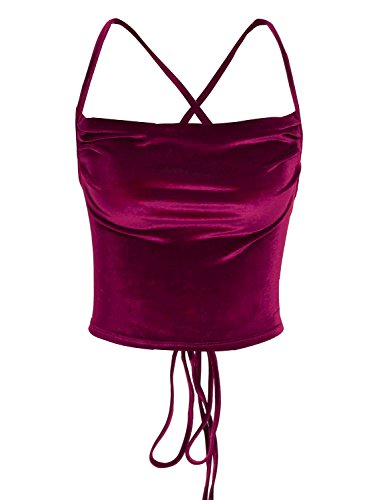 Missy Chilli Women's Velvet Lace up Cross Back Criss Tank Cami Crop Top - Shinny Red