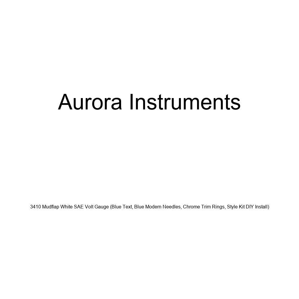 Aurora Instruments 3410 Mudflap White SAE Volt Gauge Blue Text, Blue Modern Needles, Chrome Trim Rings, Style Kit DIY Install