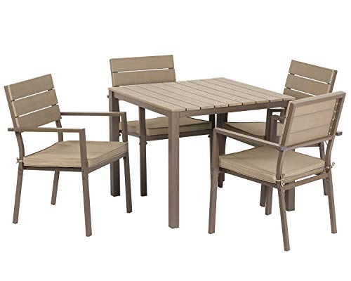 Suncrown Outdoor Steel Imitation Wood Square Dining Set (5-Piece Set) All Weather Steel Powder Coated Frame with Neutral Beige Water-Resistant Cushions Dining Table | Patio, Backyard, Pool