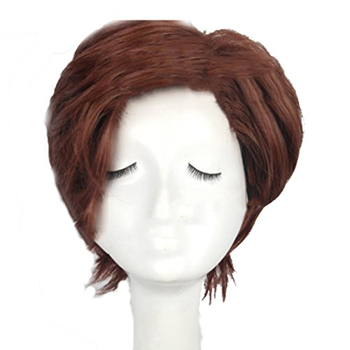 Xcoser Remy LeBeau Gambit Wig Short Brown Cosplay Wig Hair Costume -
