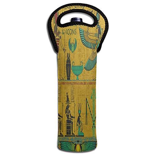 Wine Bag Vintage Ancient Egyptian 1 Beer Bottle Red Wine Tote Bag Cooler Single Champagne Gift Carrier Holder Bag -