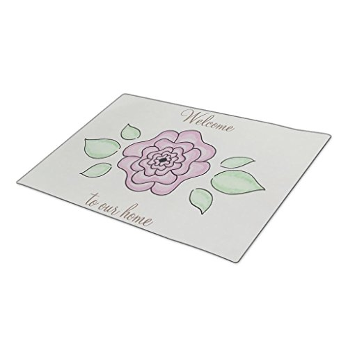 GB Plan Decorative Door Mats Welcome to our home hand drawn pink flower Large Outdoor Mats - Hand Drawn Plans