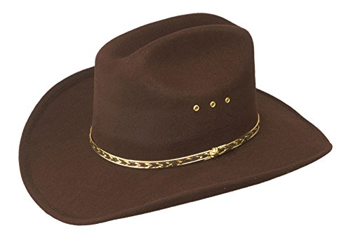 Brown Child Faux Felt Western Cowboy Hat with Brown and Gold Band]()