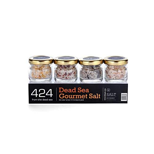 Gourmet Sea Salt Sampler 4-Pack - Organic Dead Sea Seasoning Salt Variety Set Including Kosher Garlic Salt With Ginger, Sundried Tomato With Mint, Orange With Chili and Kalamata Olive Flavors, 0.88oz