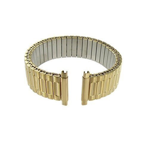 16-22mm, Men's Stretch Watch Band, Flex Radial Expansion Replacement Strap,Straight End,Expandable Ends,Gold Tone (Expandable Watch Band)